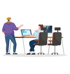 coworkers talk about work at workplace in office vector image