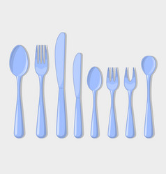 Cutlery set icons fork spoon usual than vector