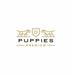 dog coat arms logo icon vector image