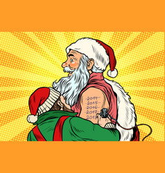 Elf makes santa tattoo 2018 new year vector