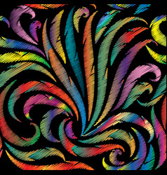 embroidery colorful seamless pattern vector image