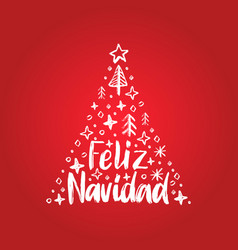 Feliz navidad handwritten phrase translated from vector