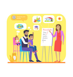 Financial plan for young family colorful banner vector