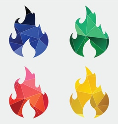 Fire icon abstract triangle vector