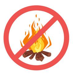 Forbidden to build fire sign vector