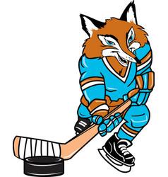 Fox sports hockey logo mascot vector