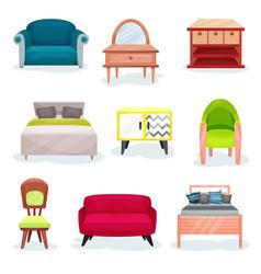 Furniture for bedroom set interior design vector