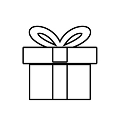 Gift box ribbon ornament celebration linear vector