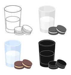 Glass of milk with cookies icon in cartoon style vector
