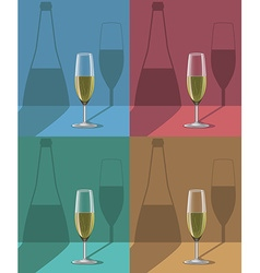 glasses of champagne set on metal stand with vector image