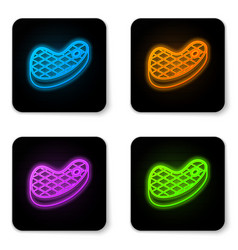glowing neon steak meat icon isolated on white vector image