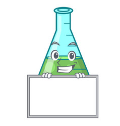 grinning with board science beaker character vector image