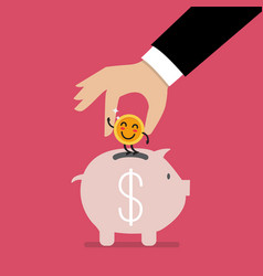 Hand insert happy coin into piggy bank vector