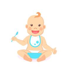 Happy infant baby boy eats itself isolated vector