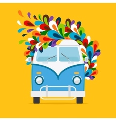 Hippie blue van icon vector