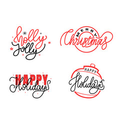 holly jolly merry christmas happy holidays text vector image