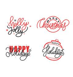 Holly jolly merry christmas happy holidays text vector