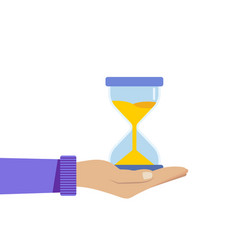 human hand holds a hourglass business and time vector image