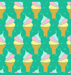 ice cream cones seamless pattern waffle vector image