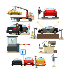 Icons set of cars and people dealing with vector