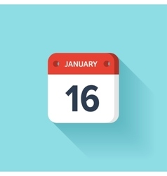 January 16 isometric calendar icon with shadow vector