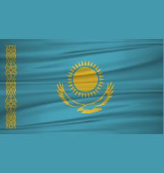 Kazakhstan flag flag of kazakhstan blowig in the vector