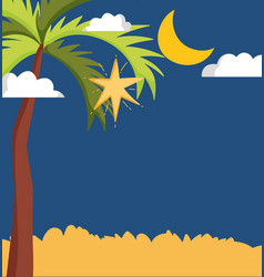 landscape palm shotting star moon night vector image