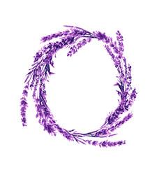 lavender flower wreath watercolor vector image