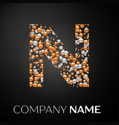 letter n logo gold-silver dots alphabet logotype vector image