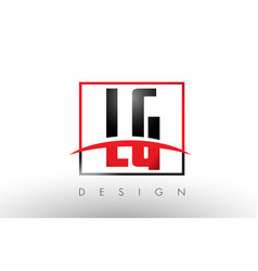 lg l g logo letters with red and black colors and vector image