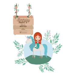 Mermaid with unicorn and wooden label invitation vector