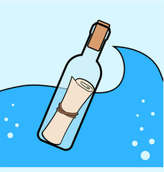 Message in the bottle icon in cartoon style vector