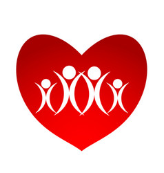 mother father and children over red heart on vector image