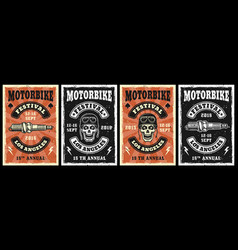 Motorcycle garage and repair service set four vector