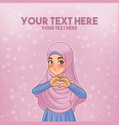 Muslim woman making heart shape with her hands vector