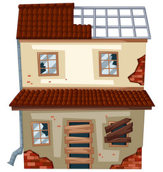 Old house with ruined windows vector