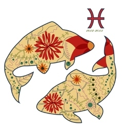 Pircies zodiac sign retro vector