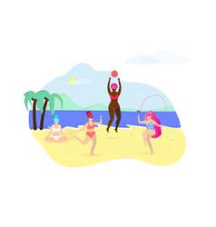 Plus size girls doing sport exercises on beach vector