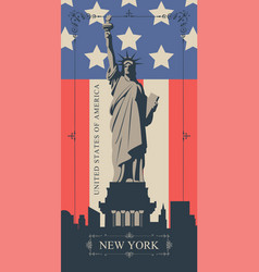postcard with statue liberty and american flag vector image