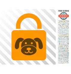 Puppy lock flat icon with bonus vector