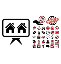 Realty Project Flat Icon with Bonus vector image
