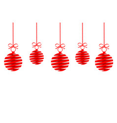 red christmas decoration balls from ribbon with vector image