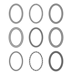 rope set of oval frames collection of thick and vector image vector image