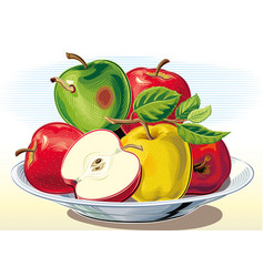 Rotten apple in a bunch of apples on a plate vector