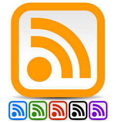 Rss feed or generic signal icons in 6 colors vector