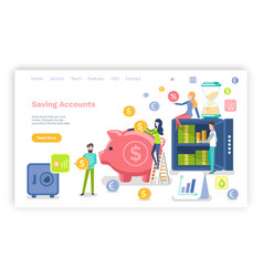 Saving accounts people with money dollars coins vector
