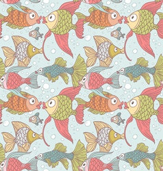 Seamless ornament variety of fish in the water vector