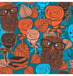 Seamless pattern with flora and fauna vector