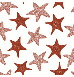 Seastars seamless pattern hand drawn marine vector