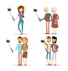 Selfie people isolated vector